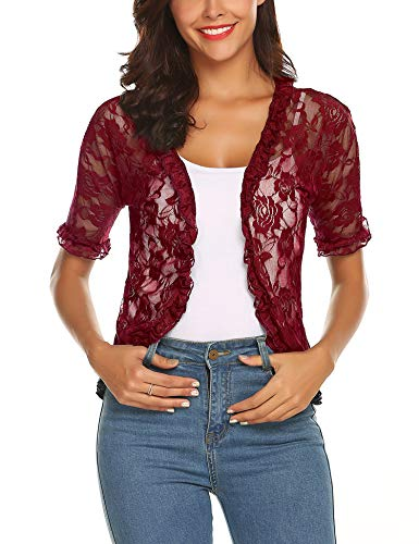 - URRU Women's Lace Crochet Cardigan Ruffle Half Sleeve Open Front Casual Bolero Shrug Wine Red S