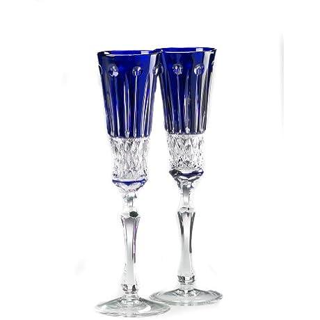 Elizabeth Chamapgne Flute Glasses Cobalt Blue Crystal Set Of 2