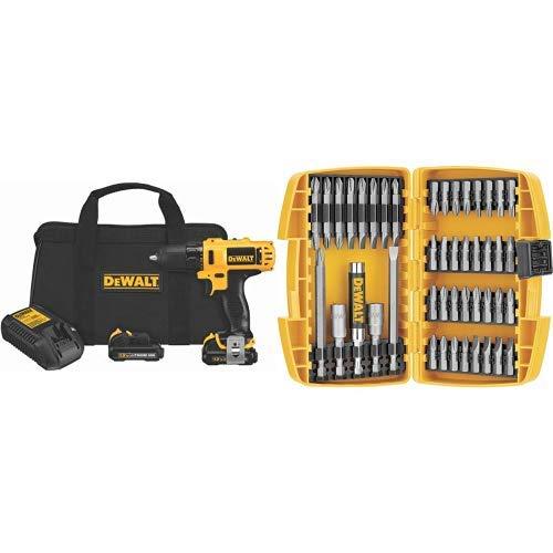 DEWALT DCD710S2 12-Volt Max 3/8-Inch Drill Driver Kit with DEWALT DW2166 45 Piece Screwdriving Set with Tough Case