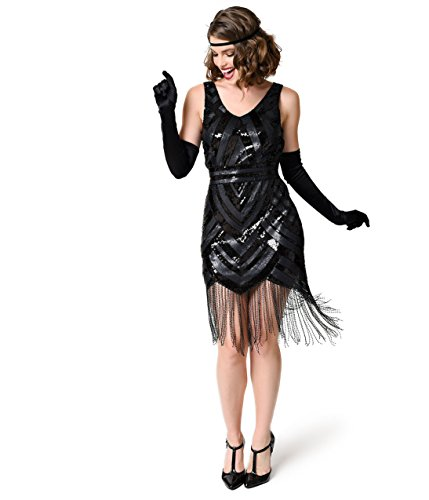 Vintage 1920s Style Black Sequin Beaded Deco Fringe Flapper Dress (Unique Costume)