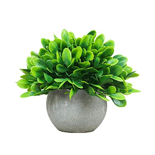 (Artificial Plants Potted Faux Fake Mini Plant Greenery Green Grass Flower Topiary Shrubs in Gray Pot for Bathroom Home House Decor (Color : A))