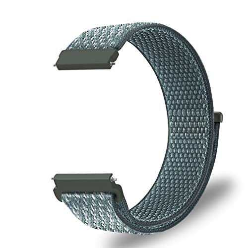 Fintie Band for Galaxy Watch 42mm & Gear Sport & Gear S2 Classic, 20mm Quick Release Nylon Sport Loop Smartwatch Replacement Strap Bands with Adjustable Closure - Storm Gray