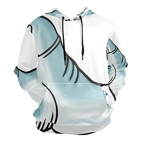 Pingshoes Seal-Lion Hoodie 3D Pullover Hooded Long Sleeve Workout Sweatshirts