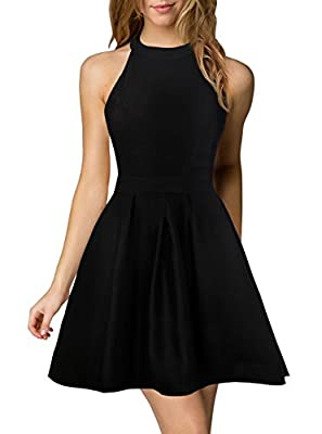 Berydress Women's Halter Neck Backless Black Cocktail Party Dress