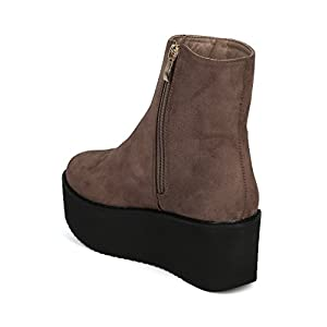 Indulge Hebe I Women Creeper Ankle Bootie - Platform Wedge Bootie - Party Cosplay Costume Trendy Dancing Platform Boot - Taupe Faux Suede (Size: 8.0)
