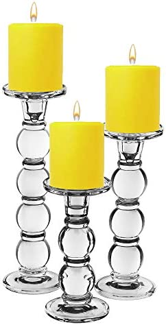CYS EXCEL Glass Candle Holder Set of 3 D-3″ H-7.5″
