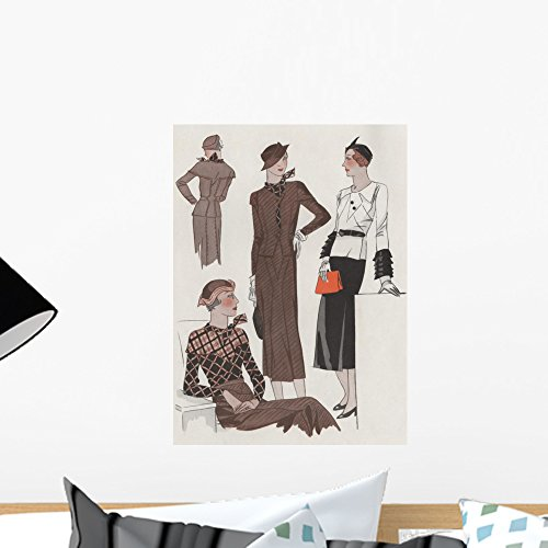 1930 Wall - Wallmonkeys Four Women in 1930's Fashion Wall Decal Peel and Stick Graphic WM149799 (18 in H x 13 in W)
