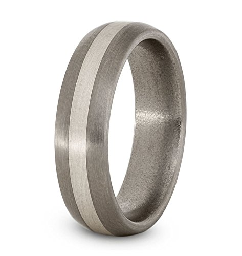 Satin Brushed Titanium, Sterling Silver 6mm Comfort-Fit Dome Wedding Band, Size 11 by The Men's Jewelry Store (Unisex Jewelry) (Image #2)
