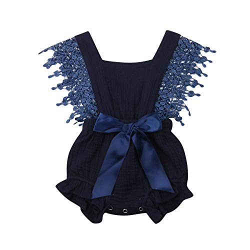 Newborn Infant Baby Girl Clothes Lace Halter Backless Jumpsuit Romper Bodysuit Sunsuit Outfits Set (Navy Blue, 0-6 - Dress Ruffle Blue Girls