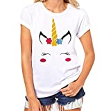 Clearance Sale! Women Shirts WEUIE Printing Tees Shirt Short Sleeve T Shirt Blouse (Size M/ US 6, White)