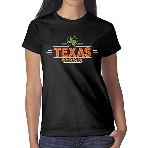 SNSDHDSA Women Texas Roadhouse Logos Short Sleeve T Shirts Loose Humor Breathable Shirt (Shirt Texas Roadhouse)