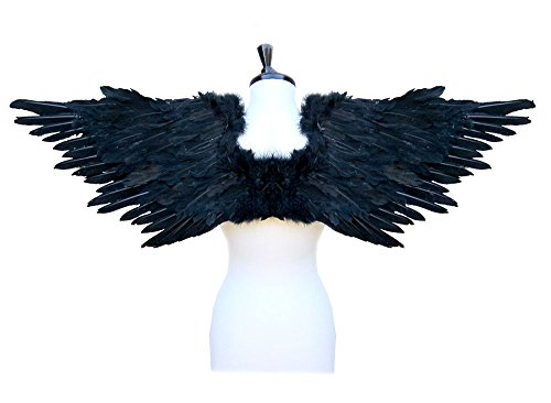 SACASUSA (TM Large Feather Costume Fairy Angel Wings in Black -