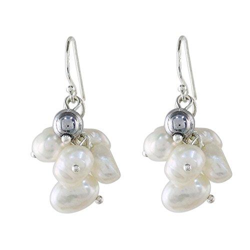 (NOVICA Hematite White Cultured Freshwater Pearls .925 Silver Cluster Earrings, Harmonious Pearl')