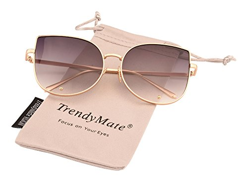 TrendyMate-Cat Eye Mirrored Flat Lenses Metal Frame Rivet Cute Mirrored Women Sunglasses (Gold Double Grey, - Mirrored Cute Sunglasses