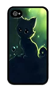 iPhone 4 Case,iPhone 4S Case,VUTTOO Stylish Cat Illustrator Soft Case For Apple iPhone 4/4S - TPU Black