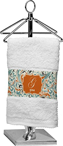 RNK Shops Orange Blue Swirls & Stripes Finger Tip Towel (Personalized) by RNK Shops