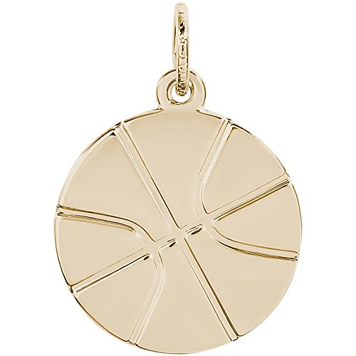 Rembrandt Charms 10K Yellow Gold Basketball Charm on a 10K Gold Rope Chain Necklace, 16'' by Rembrandt Charms
