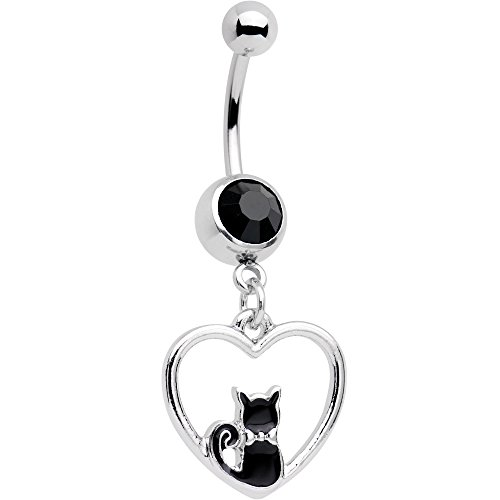 Body Candy Stainless Steel Black Accent Got Your Heart Black Cat Dangle Belly Ring