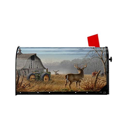 Foruidea Deer Tractors Personalized Mailbox Covers Magnetic Mailbox Wraps Patriotic Post Letter Box Cover Standard Oversize 21 X 18 Makover MailWrap Garden Home Decor (Mailbox Cover Personalized)