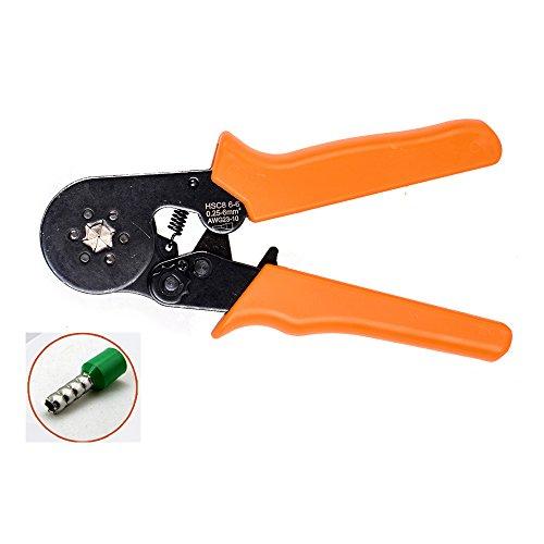 NUZAMAS Adjustable Ratcheting Ferrule Hexagonal Hex Crimper Pliers Tool 0.25~6.0mm AWG 23 - (Crimper Hex Die)