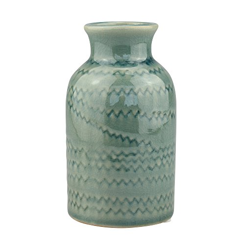 Stonebriar Decorative Pale Green Ceramic Vase, For Floral Arrangements and Dried Flower Filler, Centerpiece for Coffee, Kitchen, and Dining Room Table (Ceramic Vases Green)