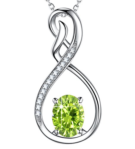 Green Peridot - Created Green Peridot Jewelry August Birthstone Necklace Love Infinity Pendant Gift for Her Birthday Anniversary Gifts for women Wife Lady Girlfriend Daughter Grandma Sterling Silver, 18