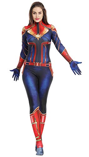 Captain Marvel Costume,Captain Marvel Cosplay,Captain Marvel Cosplay Costume Suit Full Set for Women (Kid Size 8/10, Jumpsuit) ()
