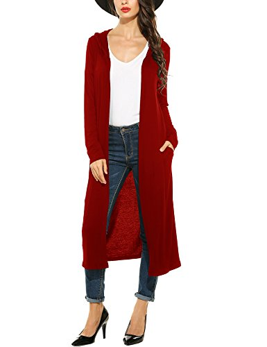 Meaneor Women's Long Sleeve Waterfall Hoodies Open Front Maxi Cardigan Sweater Wine Red ()