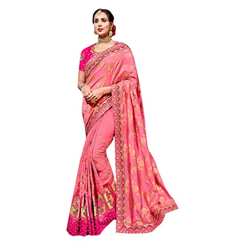 Ethnic Party Blouse Emporium Coloured Wear Unstitched Sari 7401 With Crepe Pink Embroidered wIvIqOr