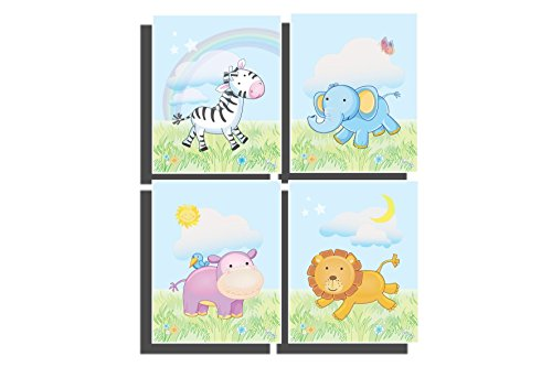 Nursery Animals Set of 4 Unframed Prints Baby Animal Wall Art Safari Jungle Nursery Room Décor Pictures of Elephant Zebra Giraffe Lion Baby Shower Gift 8 x 10 inch