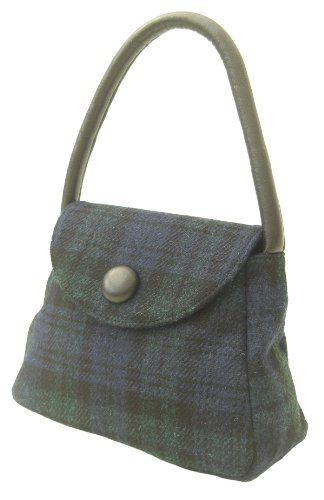 Sarah Harris Tweed Black watch tote handbag with leather trims, for gift,birthdays,mother's day