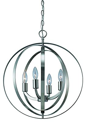 Canarm ICH182B04BN18 Meridian 4-Light Chandelier, Brushed Nickel