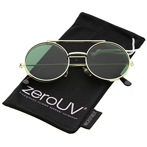 zeroUV - Mid Size Flip-Up Colored Lens Round Django Sunglasses 49mm (Gold / - Flip Sunglasses For Men Up