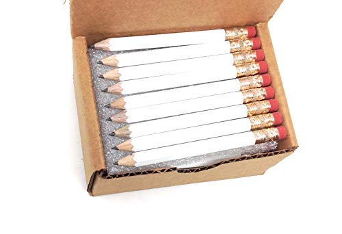(Half Pencils with Eraser - Golf, Classroom, Pew, Pocket -#2 Hexagon, Sharpened, (Box of 48). Color Choice:)