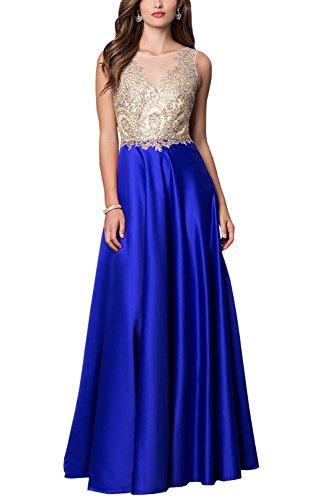 brlmall Scoop cuello de la mujer Oro Bordado appliques largo Prom Fiesta Azul