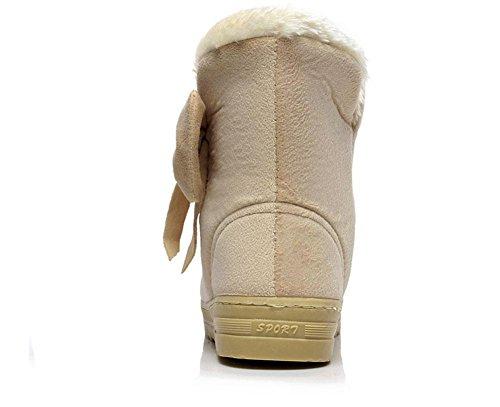 kuki-women, STIEFELETTEN, Schnee Stiefel, Wärme, Baumwolle Boots, in Tube, Schleife, flach mit Baumwolle Boots, Tube, Schleife, Winter beige