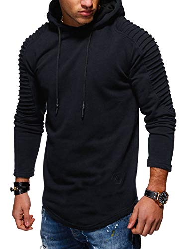 EXCOO Solid Color Pleated Sleeve Long Fleece Hoodie