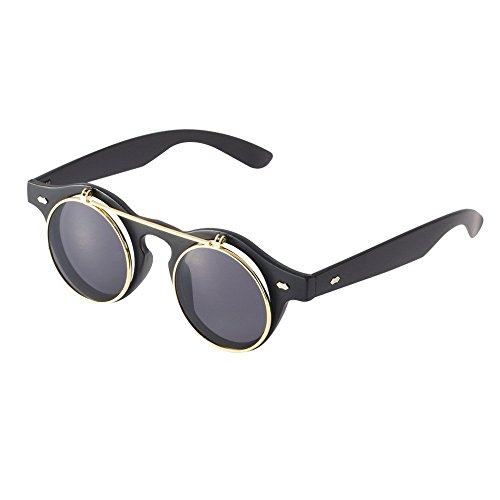 Flip Up Sunglasses Steampunk Goth Goggles circle Retro Vintage glasses 2016 HOT