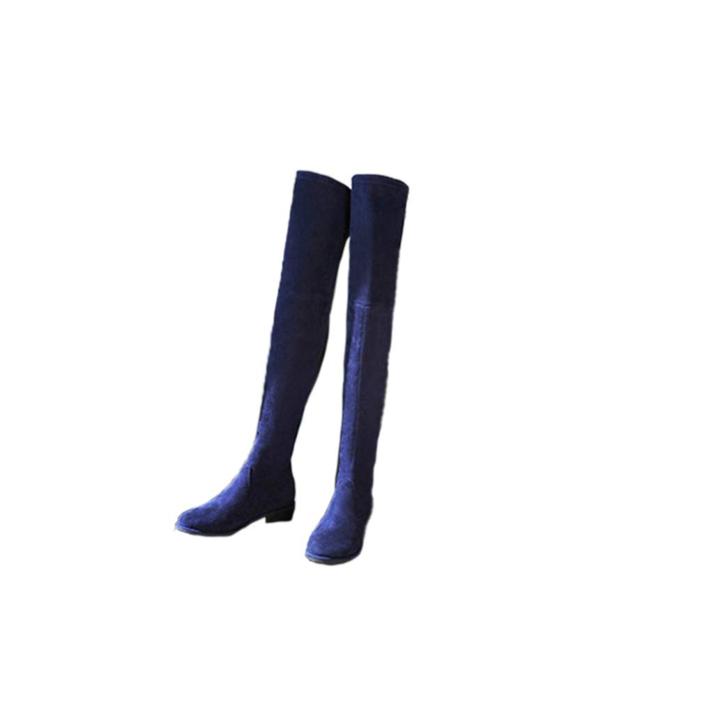 bluee 5.5cm Women Chunky Heel Increasing Over The Knee Boots Stretch Scrub Suede Thigh High Boots Comfortable Boots