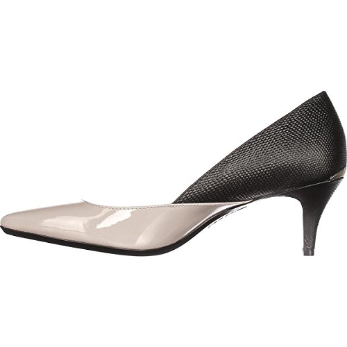 Calvin Klein Womens Patna Leather Pointed Toe Classic, Greige/Black, Size 8.5