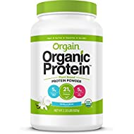 Orgain Organic Plant Based Protein Powder, Vanilla Bean, Vegan, Non-GMO, Gluten Free, 2.03 Pound, 1 Count, Packaging May Vary