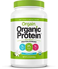 Orgain Organic Sweet Vanilla Bean Protein Powder is a naturally smooth and delicious nourishment drink with 21 grams of organic protein and 5 grams organic fiber per serving. Each serving is USDA organic, gluten free, kosher, vegan, non-GMO, ...