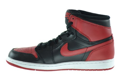 Nike Air Jordan 1 Retro Alti E Gezã¼chtet Leader Del Basket Schuhe Nero / Varsity Rosso-bianco