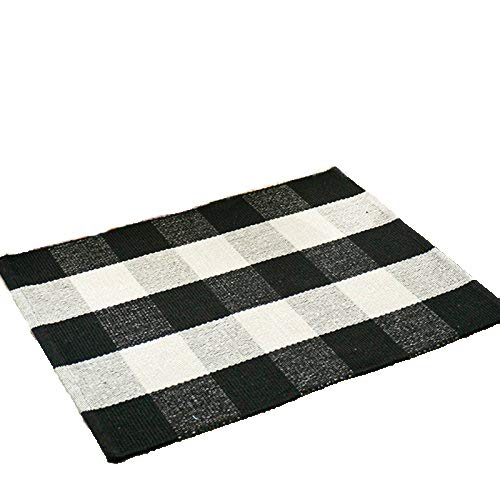 Wolala Home Bohemian Plaid Stripes Cotton Washable Rug Durable Livingroom Solid Floor Rug Simple Fashion Doormat Floor Mat Kitchen Area Rug ()