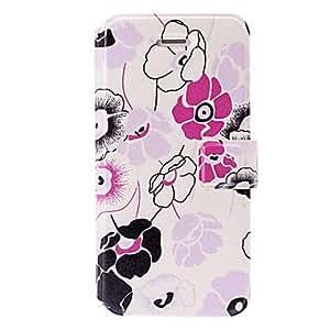 Púrpura pequeña serie de cinco pétalos patrón de caso de cuero fresco con ranuras de soporte y tarjeta para el iphone 5/5s