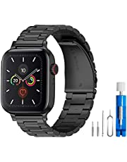 U191U Band Compatible with Apple Watch 38mm 42mm Stainless Steel Wristband Metal Buckle Clasp iWatch 40mm 44mm Strap Replacement Bracelet for Apple Watch Series 4/3/2/1 Sports Edition(Black, 42MM)