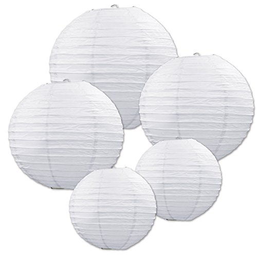 Beistle 54557-W White Paper Lantern Assortment, Assorted Sizes, 5 Paper Lanterns In Package ()