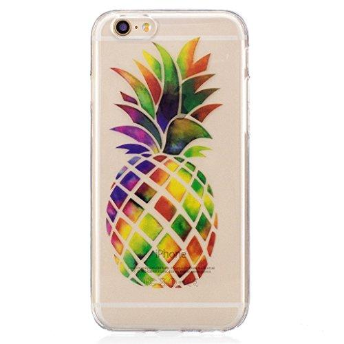 Crisant Regenbogen Ananas Drucken Design weich Silikon Ultra dünn TPU Transparent schutzhülle Hülle für Apple iPhone 6 6S 4.7'' (4,7''),Premium Handy Tasche Schutz Case Cover Crystal Bumper Schale für