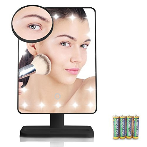 EOS&HELIOS 20 Led Lighted Makeup Mirror with Removable 10x Magnifier Batteries Include (Black)