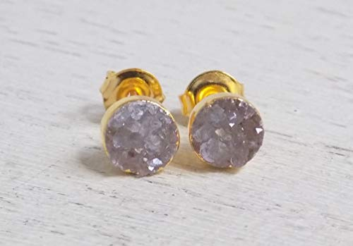 - Natural Druzy Studs Round Druzy Earrings Gray Druzy Gemstone Drusy Drussy Small Stone Posts Boho